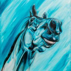 blue horse painting funny tongue