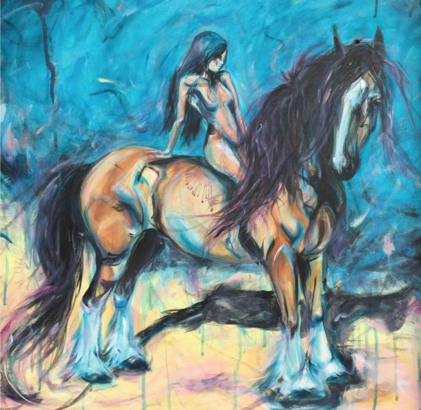 Bay draft horse bareback painting
