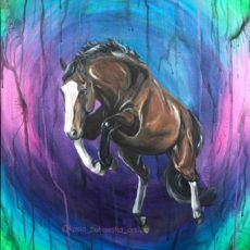 Bay Horse Jumping Painting