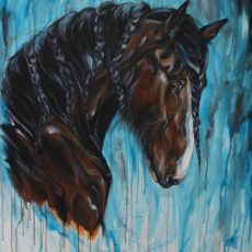 bay draft horse painting