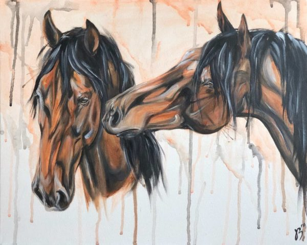 best friends two horses on canvas