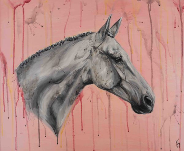 Grey Horse painting on pink background
