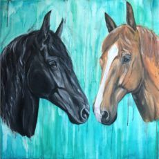 friesian and chesnut horse painting portrait